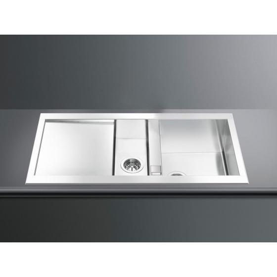 smeg lqr100 2 eviers direct evier. Black Bedroom Furniture Sets. Home Design Ideas
