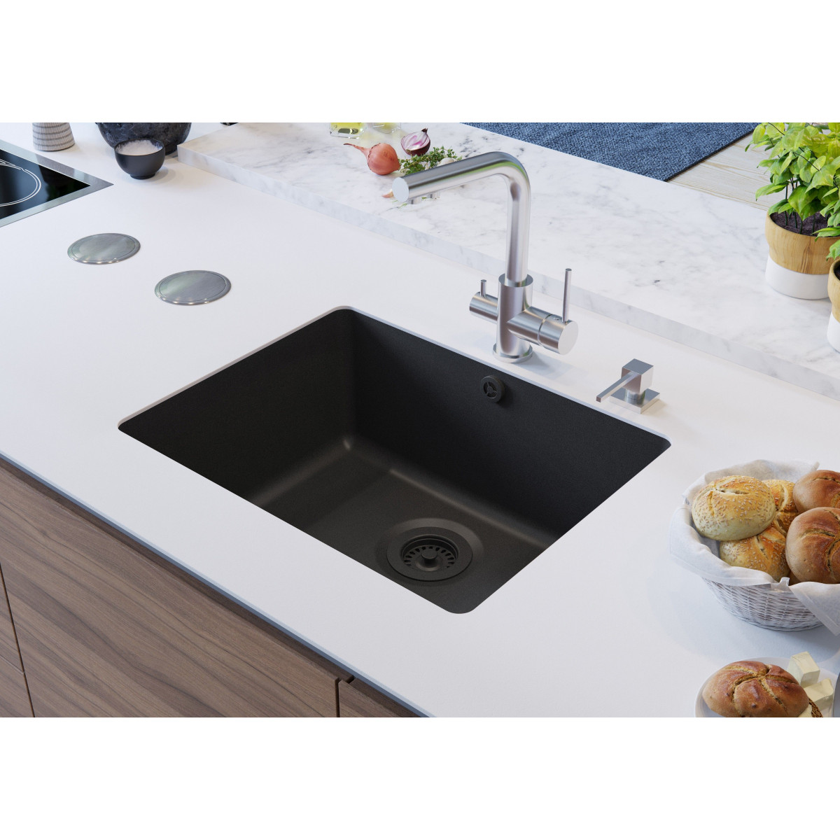 Aquasanita arca sqa102 eviers direct evier for Cuve sous plan blanco